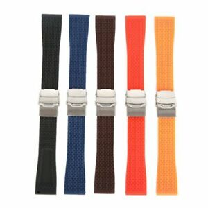 Silicone Rubber Watch Strap Band Waterproof Deployment Clasp 18 20 22 24 MM