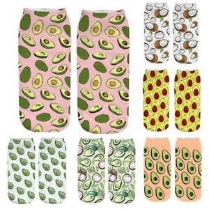 Ladies 3D Cartoon Funny Crazy Cute Fruit Amazing Novelty Print Ankle Casual Sock