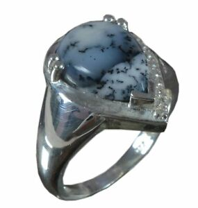 Solid 925 Sterling Silver Ring Natural Dendritic Agate US Size 8 JSR-637