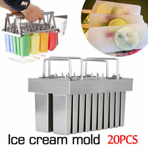 20pcs Ice Cream Stick Molds Stainless Steel Mold Ice Pop Lolly Popsicle Holder