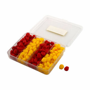 Angling Soft Silicone Corn Shaped Fishing Baits Lures w Case Red Yellow 200 Pcs