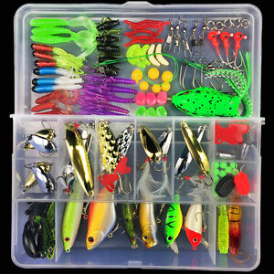 Lot 106pcs full tool Fishing Lures Crankbaits Hooks Minnow Baits Tackle box $21.99