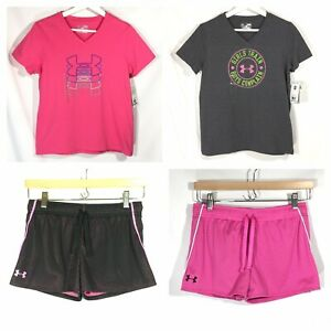 NWT Under Armour Girls Youth L 4 Pc Lot Summer Outfits Athletic Tops Shorts