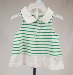 Janie and Jack Baby Girl Polo Shirt Tank Top Peplum White Green Stripe 3-6 Month