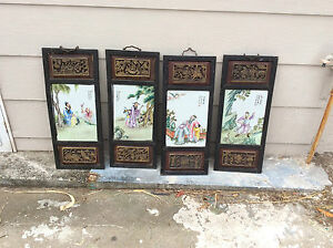 4 VINTAGE CHINESE HAND PAINTED TILES AND FRAMES.WOOD CARVED.VERY OLD