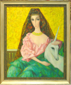 SERGEY SMIRNOV - UNICORN - ORIGINAL PAINTING ON CANVAS FRAMED - RUSSIAN ARTIST