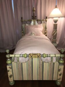 Mackenzie Childs Cake Walk Bed Twin Girl Pink Hand painted Rare High End Wood
