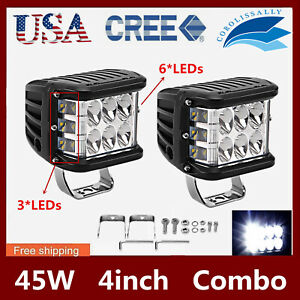 2X 45W 4INCH Cube LED Work Light Pods Triple Side Shooter Combo Beam OffRoad 90W $22.99