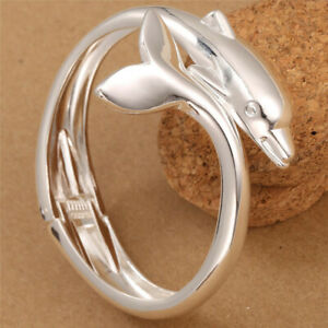 Women Fashion Jewelry 925 Silver Charm Dolphin Cuff Bracelet Bangle Girl Gift
