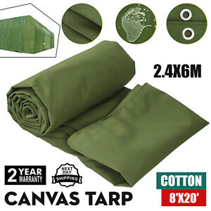 8' x 20' Canvas Tarp 2.4X6M Green Cotton Tarpaulin 8X20 FT Construction Supplies