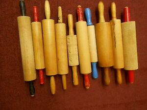 LOT OF 10  ANTIQUE WOODEN  ROLLING PINS