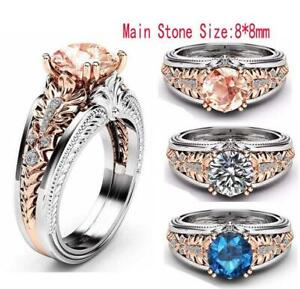 Fashion Unisex Stainless Steel Crystal Wedding Engagement Jewelry Ring Size 6-10