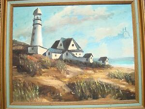 Signed Lighthouse Oil Painting Seascape 1974 Carole Lurner? $65.99