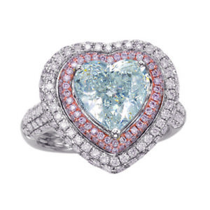 Heart 4.34ct Natural Faint Light Blue & Pink Diamonds Engagement Ring GIA 18K