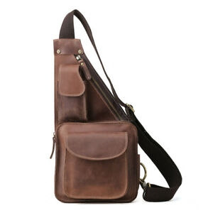 Retro Real Leather Sling Bag For Men Shoulder Sports Pouch Chest Pack Cross Body