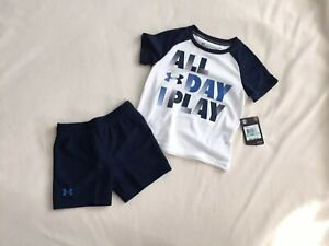 Under ARMOUR Boys 18 Month Outfit 12-18 Month Toddler Baby Short Sleeve Shorts