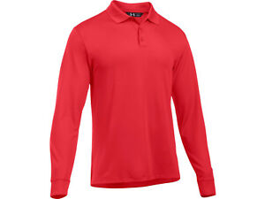 Under Armour Men's UA Tac Performance Polo Long Sleeve Polyester RED $39.93