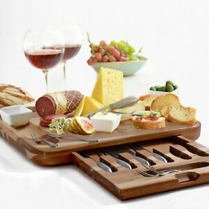 Cheese Cutting Board Set - 3 sauce dishes & 6 knives & 6 Tasting forks (Acacia)