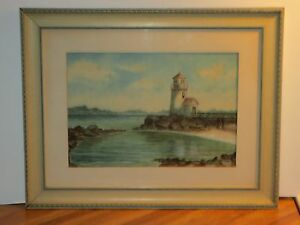 Watercolor Lighthouse Painting Nantucket Mass quot;Guiding Lightquot; Signed H. Bell $115.00