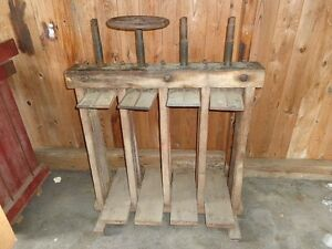 Large Antique Cast Iron & Wood Frame Cigar Mold Press Holds 40 Molds Man Cave