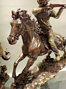 Indian Tribal Chief Statue on Horse Shooting Rifle Apache Warrior bronze color
