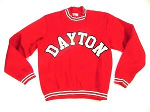 Vintage Rare 1960s Champion Dayton University Crewneck Sweatshirt sz L LARGE Red