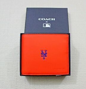COACH MLB NY METS Removable Insert ID 75433 Orange Leather Wallet Gift Box $195