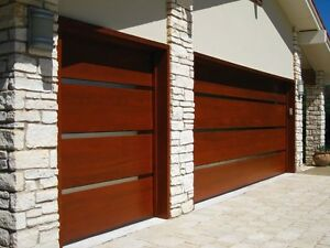 Genesis Design - [16' x 8'] Modern Style Custom Solid Cedar Wood Garage Door