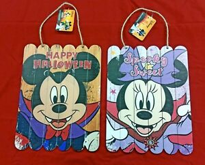 Two DISNEY Wooden Halloween Signs ft. Vampire Mickey amp; Minnie Mouse 9quot; x 12quot;