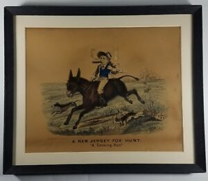 Thomas B Worth Antique Lithograph A NEW JERSEY HUNT quot;A Smoking Runquot; c1850 $95.00