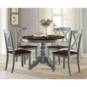 Round Dining Table Room Wood Tables Farmhouse Pedestal Antique Kitchen 42 Inch