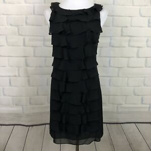 Adrianna Papell Black Formal Cocktail dress Ruffles Sleeveless 8