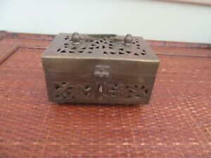 Vintage,antique brass box, chest style with handle, cut out design,legs