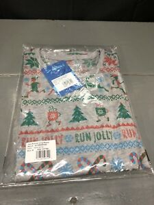 NEW Brooks Running Women's Ugly Christmas Sweater Shirt Long Sleeve MEDIUM Grey
