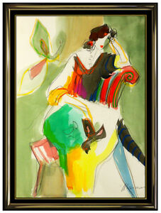 Isaac Maimon Original Watercolor Painting Female Portrait Cafe Signed Art oil