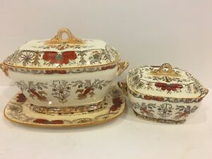 2 Antique TR Boote Covered Bowls Soup  Vegetable Dish Lahore Pattern Red Flowers