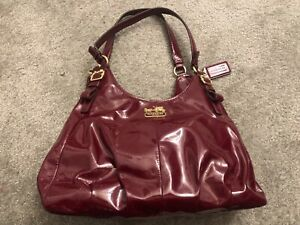 COACH Red Burgundy Patent Leather Handbag 21238 Madison Maggie