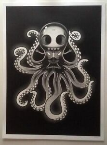 Skull Octopus SIGNED by Mike Mitchell LE Screenprint x75 Hi My Name is Mark