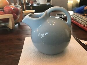 Vintage SHAWNEE Blue SNOWFLAKE BALL JUG Turquoise Ball Pitcher NO CRACKS or chip