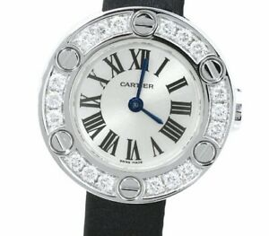 Cartier WE800331 Love Watch Diamond Bezel K18WG White Gold Rare Design Ex++
