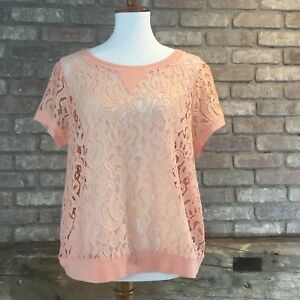Women's NWT The Limited Lace Front Short Sleeve Shirt Peach Size Large $49.95