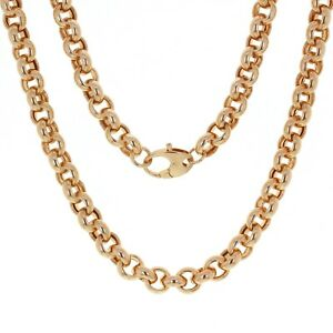 Rose Gold Plated Sterling Silver Round Link Rolo Chain Necklace 20
