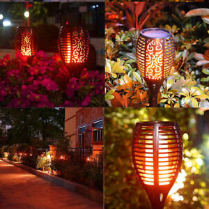 20 Pack Waterproof 96LED Round Solar Torch Light Flicker Dancing Flame Lamp New