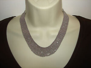 Vtg Comfortable Cute IMD 14K White Gold Mesh Woven Chain Sparkle  Necklace 17