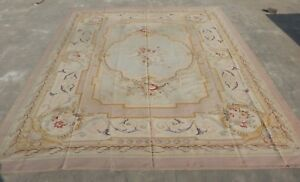 Huge Antique Hand Made French Design Original Wool Aubusson Rug 412X325cm (X620)