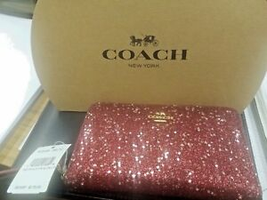 NEW Coach Red Sparkle F23448 Corner Zip wCC cash Wallet tags insert