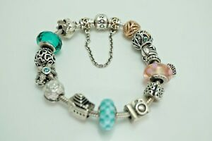 Authentic Pandora Sterling Silver 925 ALE Barrel Clasp Charm Bracelet 14 Charms