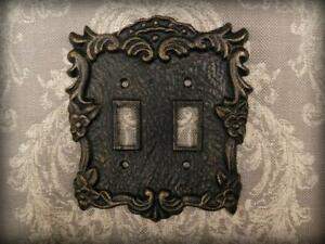 Metal Double Light Switch Plate, Cover, Old World, Tuscan, Medieval Fleur de Lis