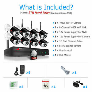 ANRAN 8CH Security Camera System Wireless HD 1080P WIFI NVR Outdoor Home IR 3TB