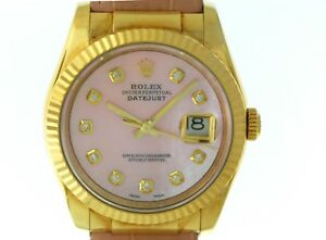 116138 Datejust Mens Yellow Gold Rolex Watch 36mm Size With Pink Mop Face